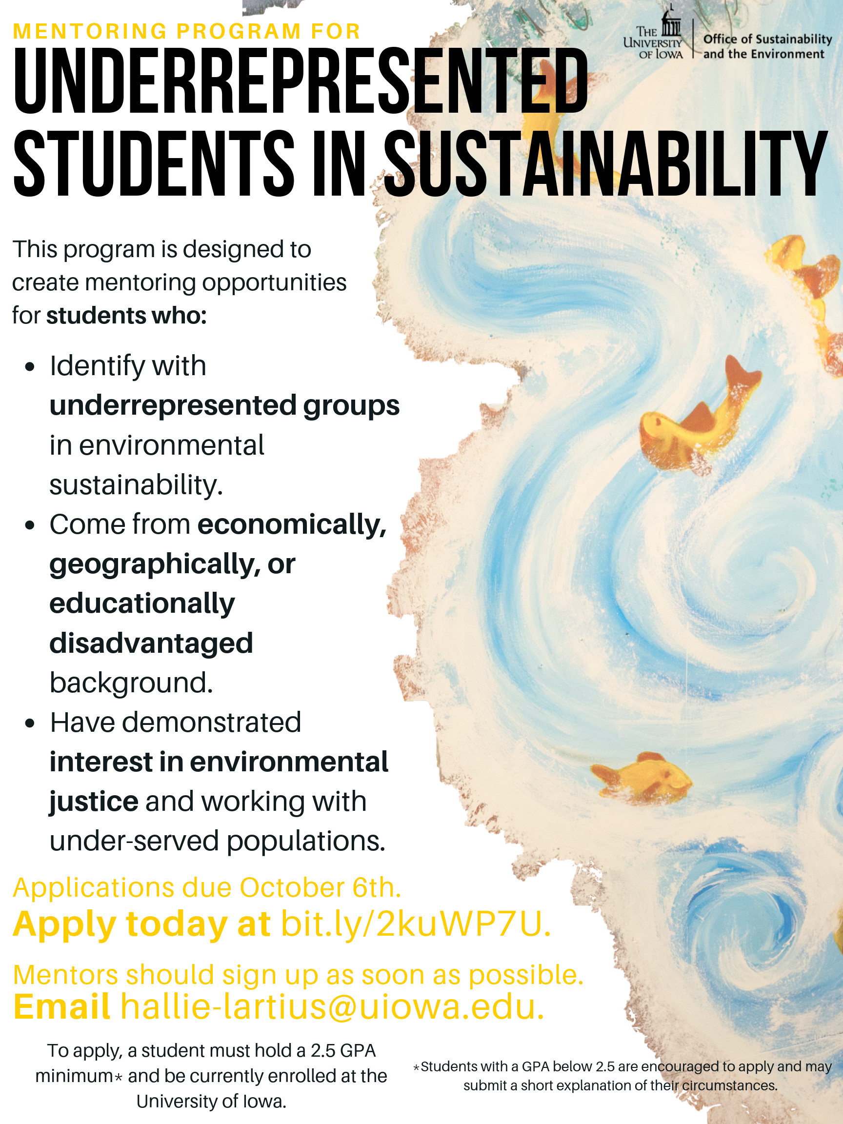 underrepresented students in sustainability flier