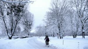stock footage person biking on winter street slow motion4