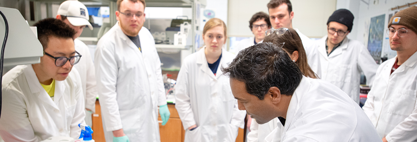 Students watching a demonstration during a Cell Biology for Engineers course.
