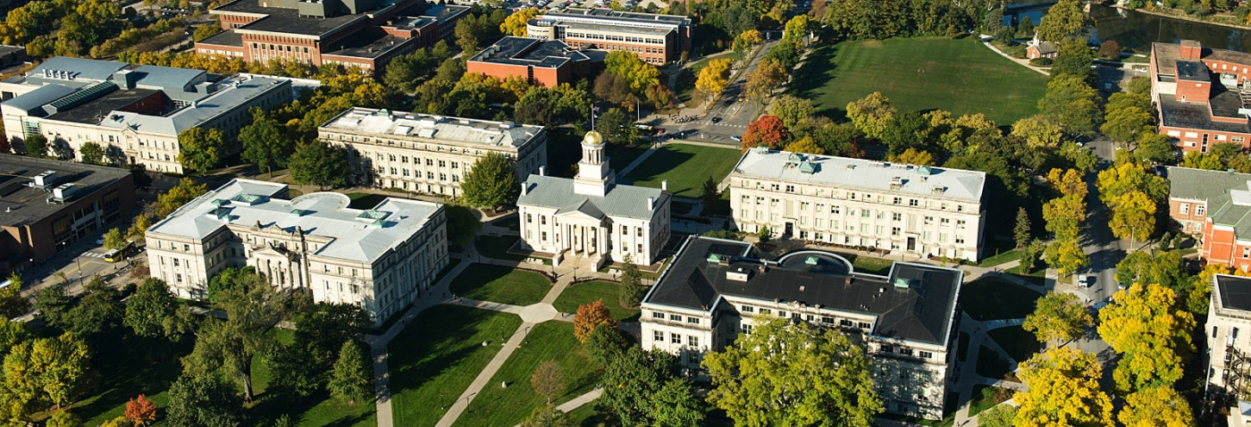 Aerial view of the University of Iowa's Pentacrest.