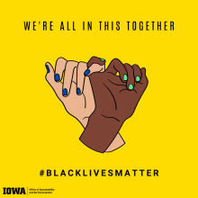We're All In This Together, #Black Lives Matter, graphic of two hands of different races interlocking their pinky fingers