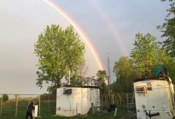 rainbow over trailers at uiowa