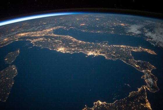earth sloped view from space