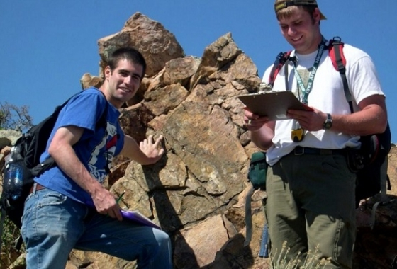 two students at rock formation