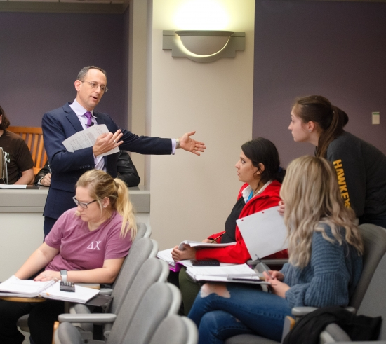professor with students